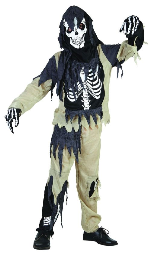 Childs Skeleton Zombie Costume Living Dead Halloween Fancy Dress Outfit